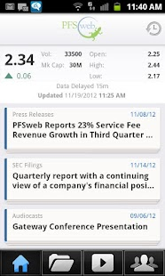 PFSweb Investor Relations (IR) - screenshot thumbnail