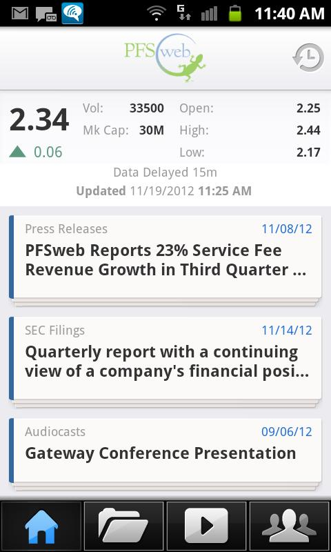 PFSweb Investor Relations (IR) - screenshot