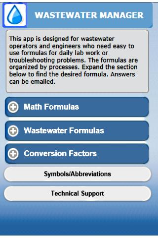 Wastewater Manager- screenshot
