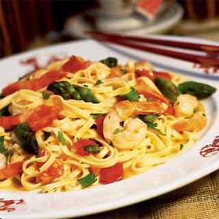 Asparagus and Shrimp Stir-fry with Noodles.