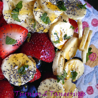 Fruit Salad with Cool Mint Dressing.