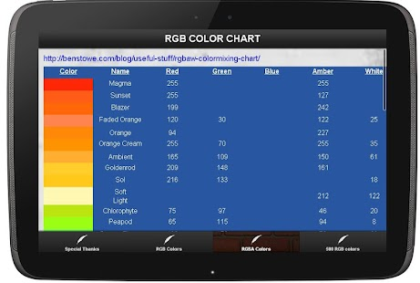 RGB COLOR CHART - screenshot thumbnail