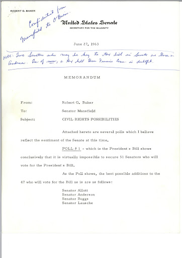 United States Senate Memo regarding Civil Rights Possibilities, Page 1