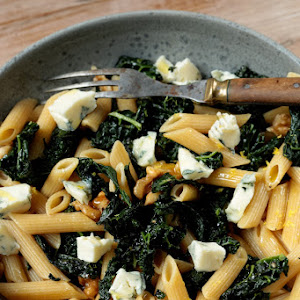 Penne with Black Kale, Gorgonzola, and Walnuts
