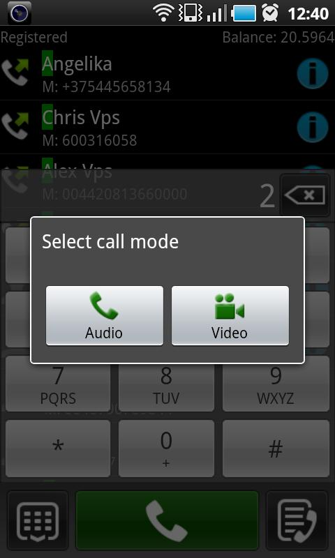 VoIP Video SIP softphone - screenshot