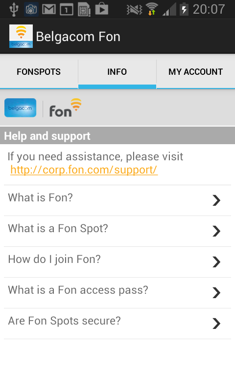 Belgacom Fon Wi-Fi Access - screenshot
