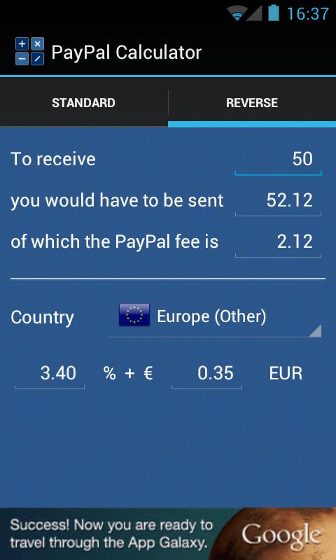PayPal Calculator - screenshot
