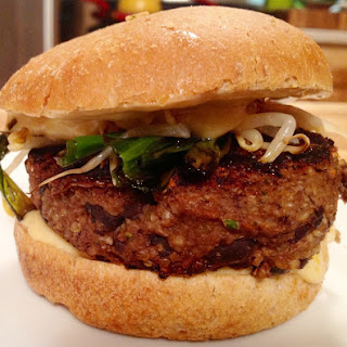 Hoisin Vegan Black Bean Burger with Spicy Sesame Sauce [GF]