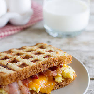 Waffled Breakfast Grilled Cheese Sandwich.