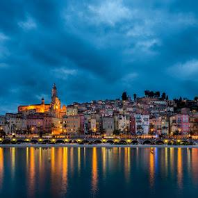 menton twilight by Ennio Pozzetti - City,  Street & Park  Vistas ( lights, night photography, blue hour, twilight, blend, france, menton, long exposure, night,  )