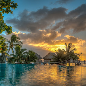 MMPI_20140520_MMCK0051_0170_HDR by Mick McKean - Landscapes Travel ( building, tahiti, tod, time of day, windward islands, plants, french polynesia, travel, maharepa, overwater bungalow, palms, oceania, palm tree, pool, sunset, sundown, resort, moorea pearl resort,  )