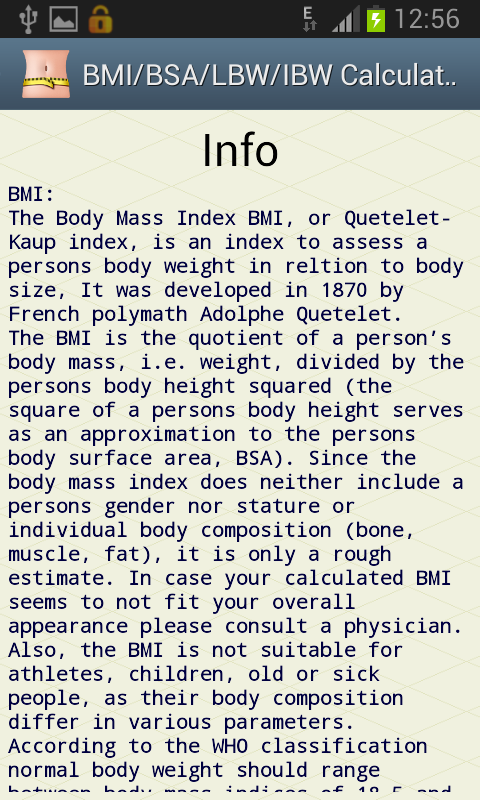 BMI/BSA/LBW/IBW-Healthy Weight - screenshot