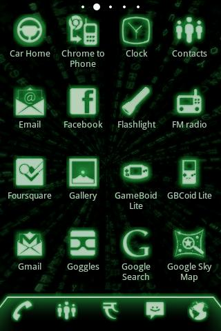 ADW Theme Green Glow Code Pro - screenshot
