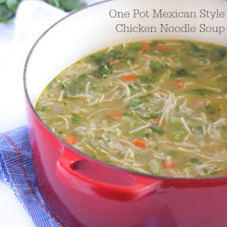 One Pot Mexican Style Chicken Noodle Soup.