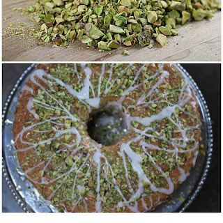 Angel Food Cake with Lime Glaze and Pistachios