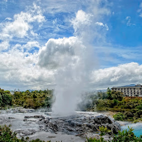 Tepui Geyser by Barb Hauxwell - Landscapes Travel ( clouds, geyser, tepui, blue sky, buildings, trees, hotel, landscape, new zealand )