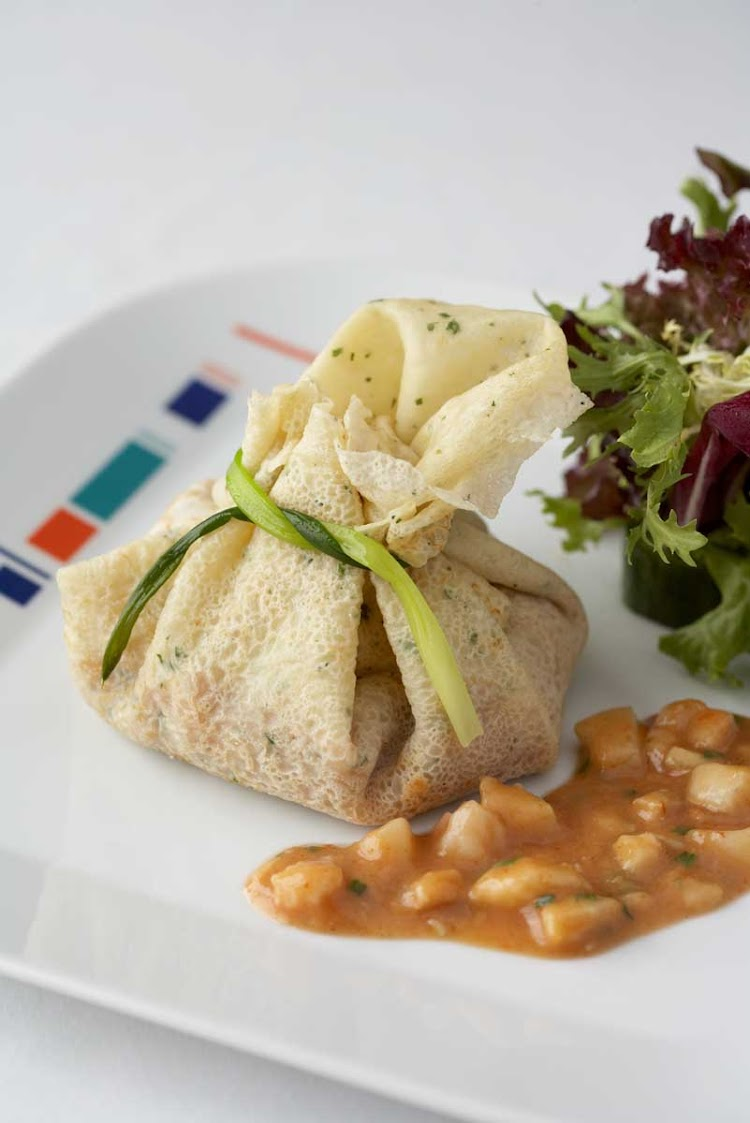 The Asian-inspired seafood crepe at Celebrity Cruises's Bistro on Five.