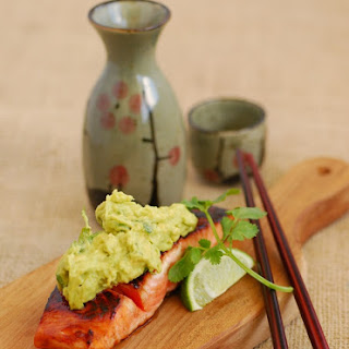 Soy Salmon with an Avocado, Lime, Wasabi Salsa.