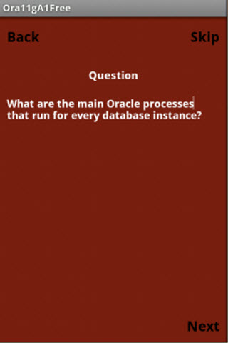 Oracle 11g OCA Free Quiz App - screenshot