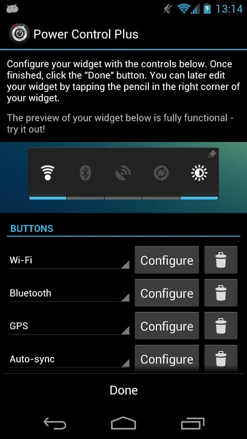 Power Control Plus (widget)- screenshot