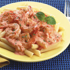Shrimp In Red Pepper Alfredo Sauce