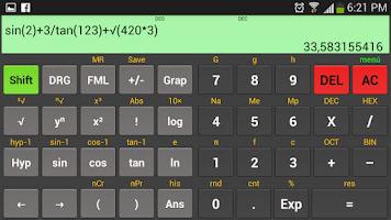 Screenshot of Scientific calculator Kal