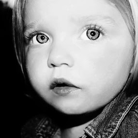 SHE'S EVERYTHING by Cheryl Korotky - Black & White Portraits & People ( child, outlined iris, model, a heartbeat in time photography, portfolio, amazing faces, beautiful children, b & w, peyton, portrait,  )