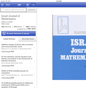 Israel Journal of Mathematics - screenshot thumbnail