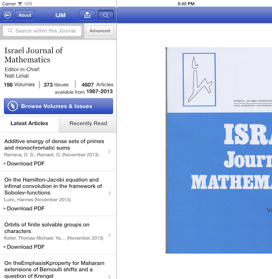 Israel Journal of Mathematics - screenshot