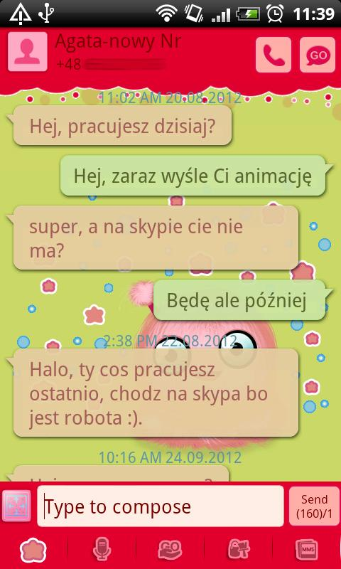 GO SMS Pro Green Mimi Theme - screenshot