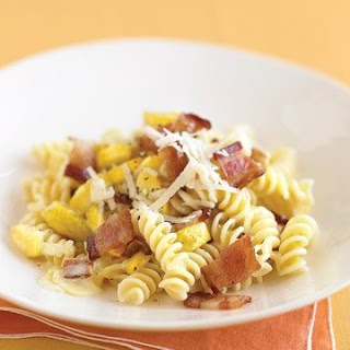 Creamy Fusilli with Yellow Squash and Bacon.