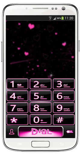 ExDialer Pink Neon Heart Theme