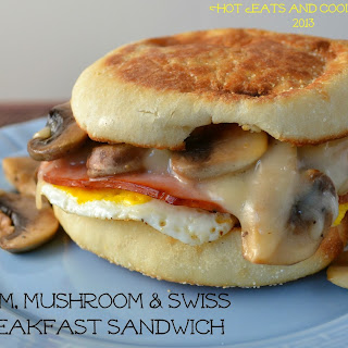 Ham, Mushroom and Swiss Breakfast Sandwich