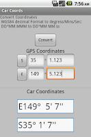Screenshot of Convert Coordinates DM to DMS