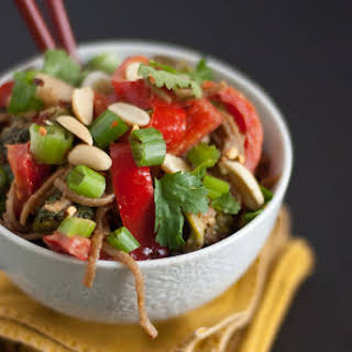 Peanut Soba Noodles with Broccoli and Red Pepper.