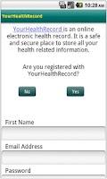 Screenshot of YourHealthRecord