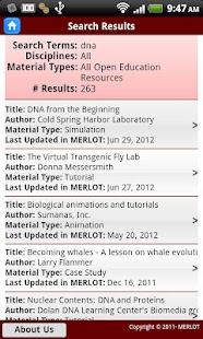 MERLOT OER Search - screenshot thumbnail