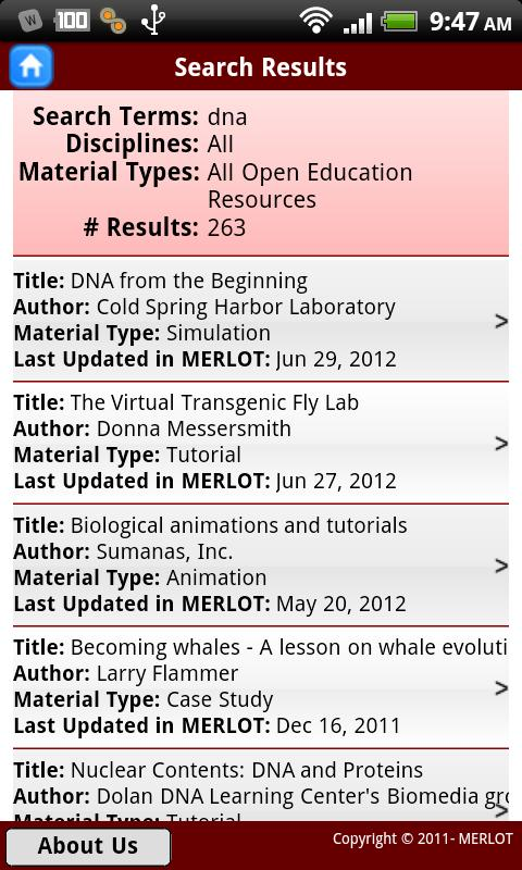 MERLOT OER Search - screenshot
