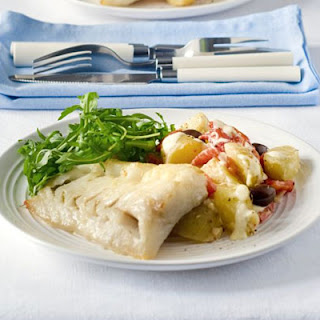 Grilled Fish With New Potato, Red Pepper & Olive Salad.