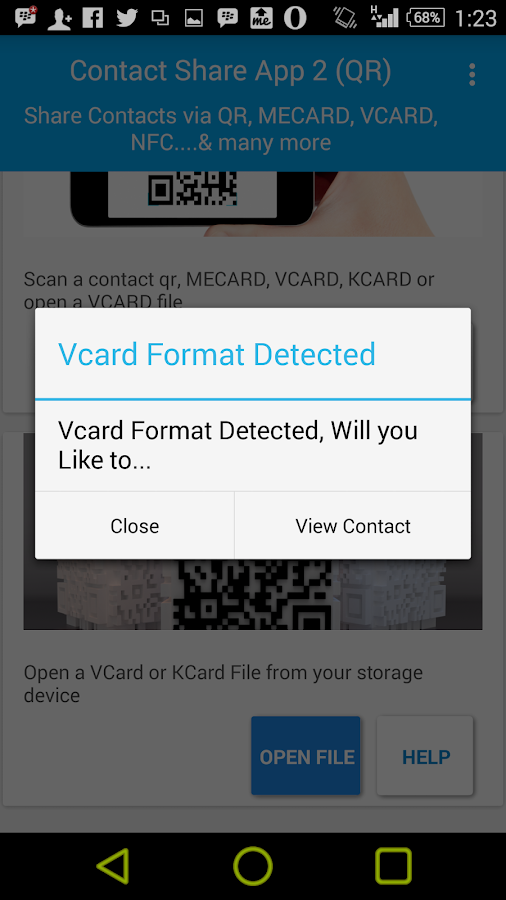 Contact Share ( QR, VCARD )- screenshot