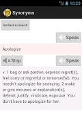 Screenshot of English Synonyms Dictionary