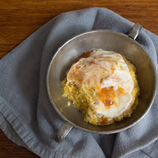 Polenta Cake with Honey Yogurt and Peach Preserves.
