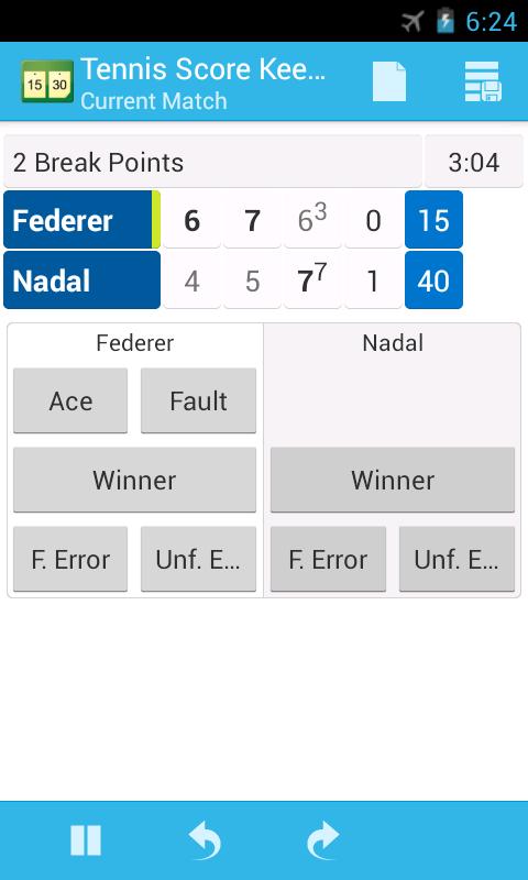 Tennis Score Keeper - screenshot