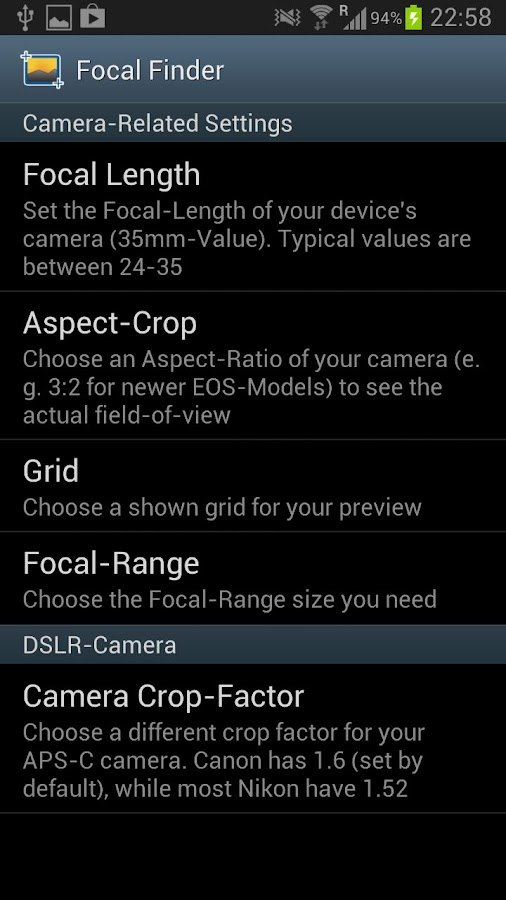 Focal Finder- screenshot