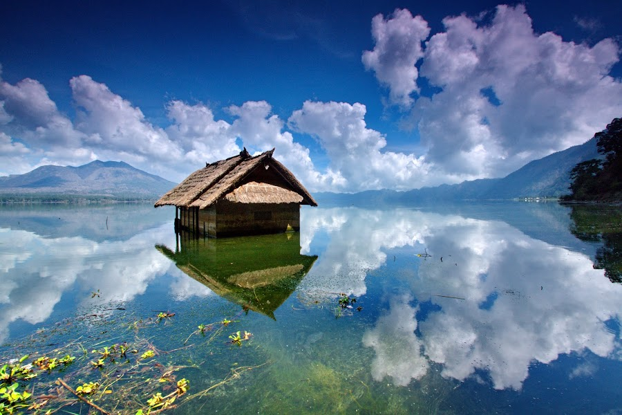 Houseboats by Hendra Gunawan - Landscapes Cloud Formations ( landscape photography, nature photography, lake )