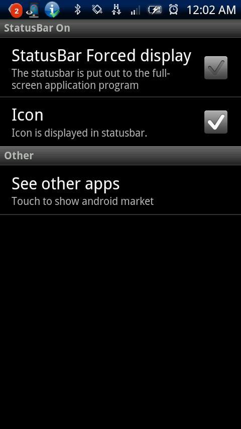 StatusBar On- screenshot