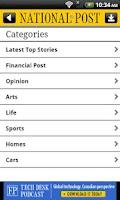 Screenshot of National Post Mobile