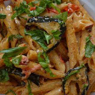Creamy Pasta with Roasted Vegetables.