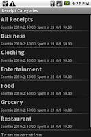 Screenshot of Receipt Filer Lite