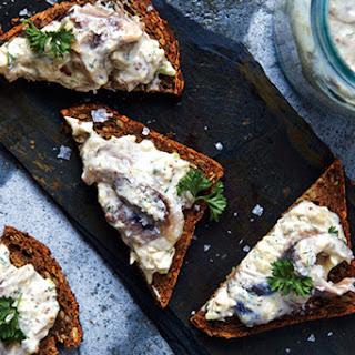 Herring in Mustard Sour Cream on Rye Bread.